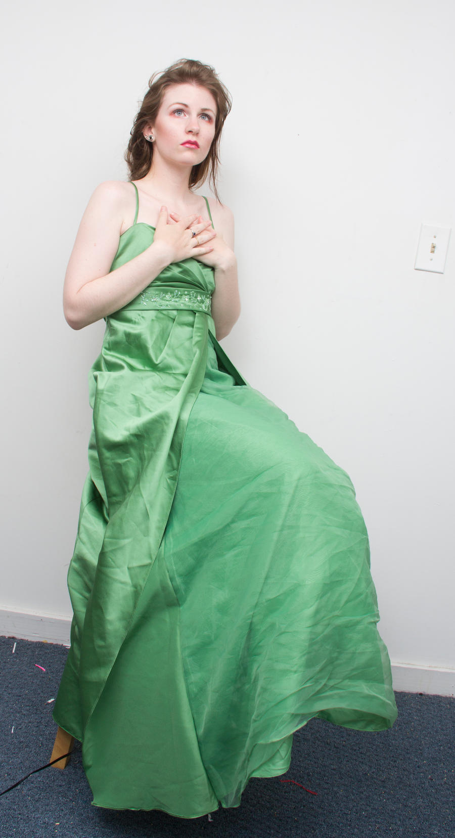 Green gown sitting 2 by Sinned-angel-stock