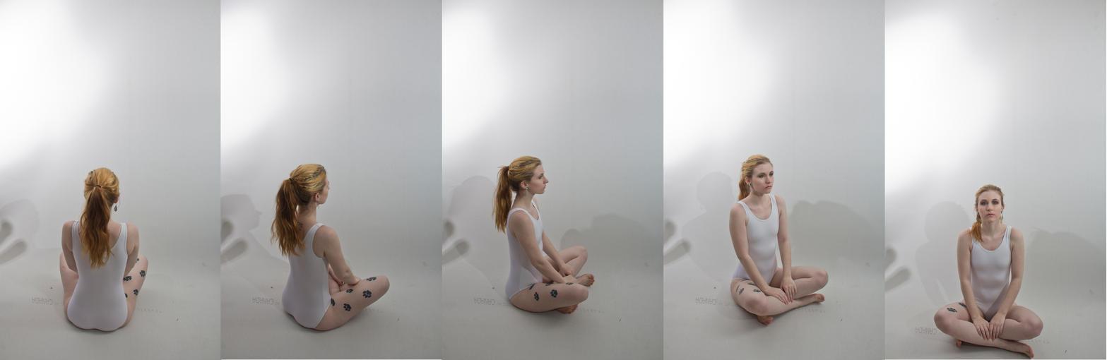 Pose ref: sitting cross legged turn around by Sinned-angel-stock