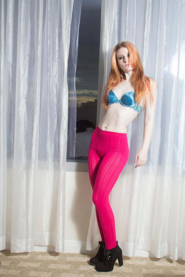 Pink leggings blue bra by Sinned-angel-stock