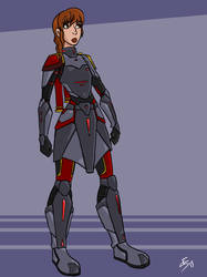 Commission - Armored Girl by bloodyinkpen