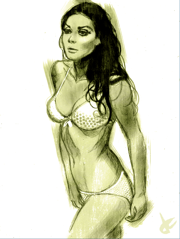 Edwige Fenech sketch by JustinCoffee