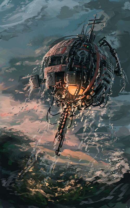 Machine above the ocean v2 by ThroughSpaceAndTime