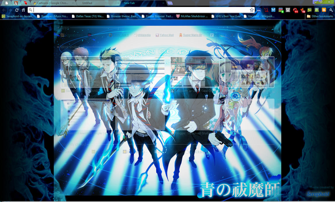 Google themes exo chibi - Blue Exorcist Chrome Theme By Seraphoid