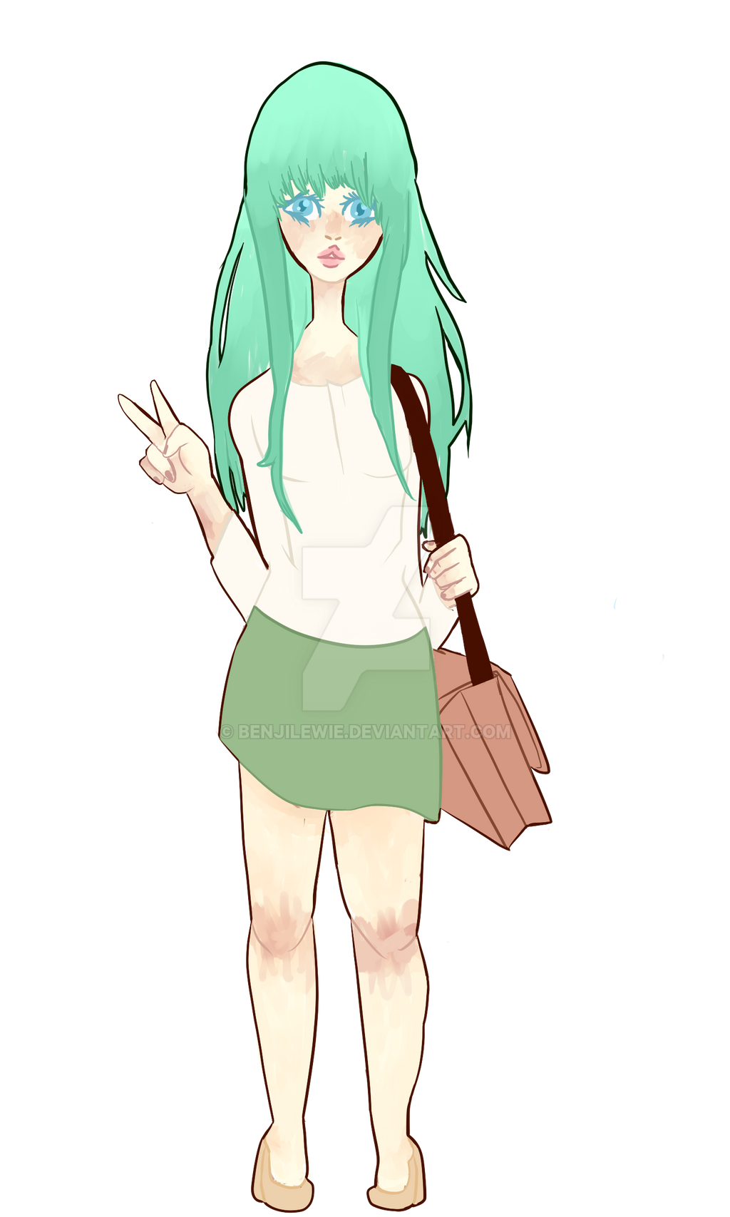 WIP: Green Haired Girl by Benjilewie