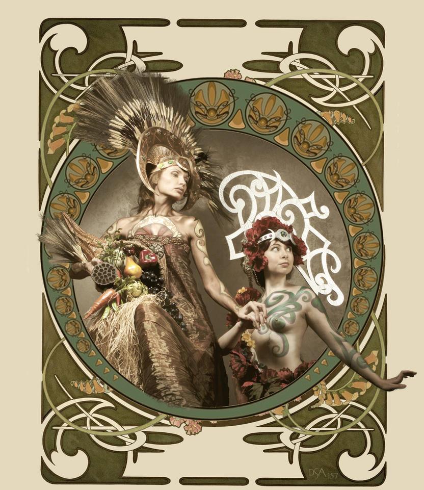 Demeter and Persephone Art Nouveau by dsa157