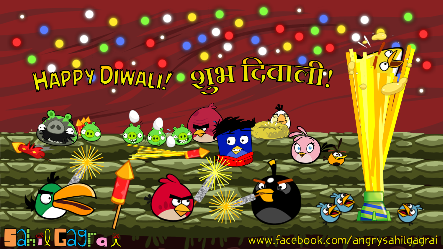 Angry Birds celebrating Diwali!