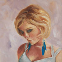 Blue Feathers - Oil painting