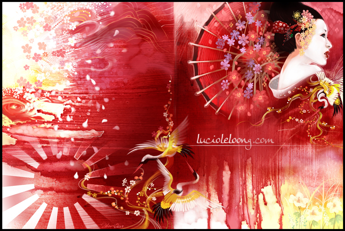 japanese geisha illustration wallpaper red