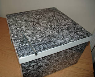 Large hand drawn storage box by kodapops