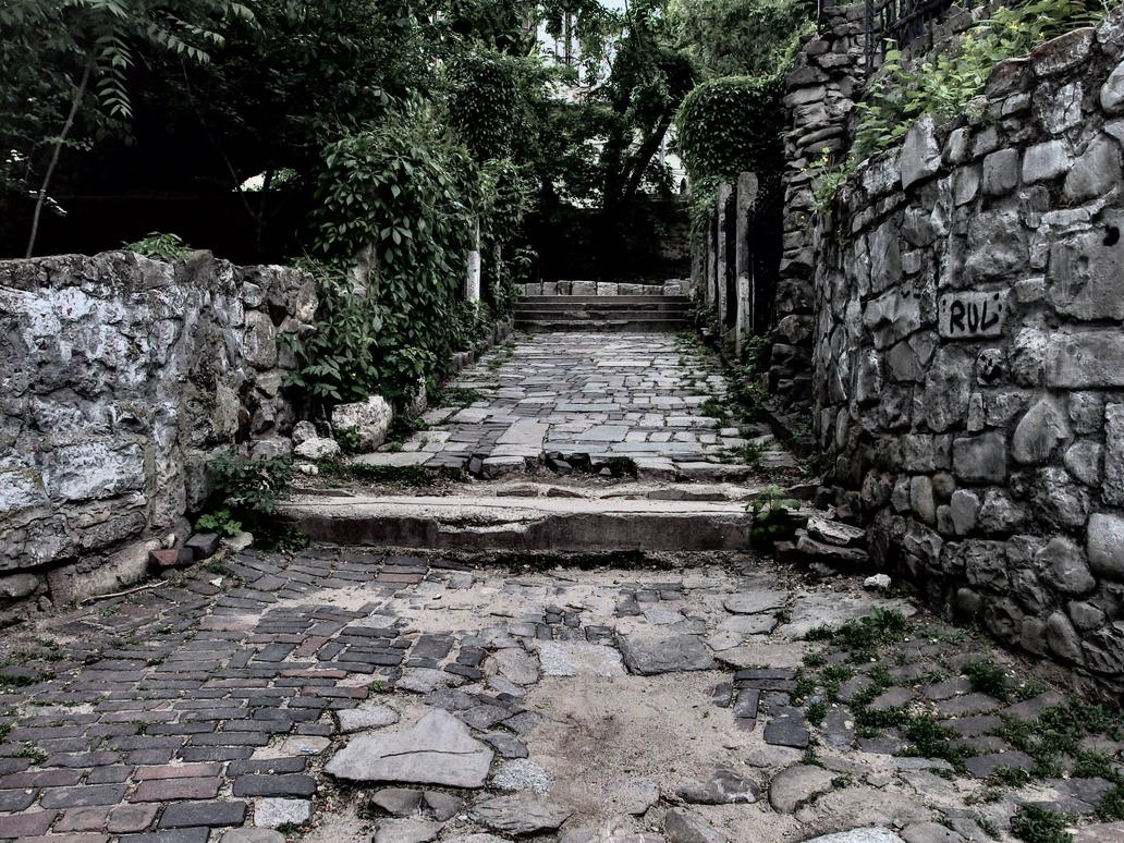 Paintings Of Cobblestone Paths : Some sort of old stone path with walls by durza on