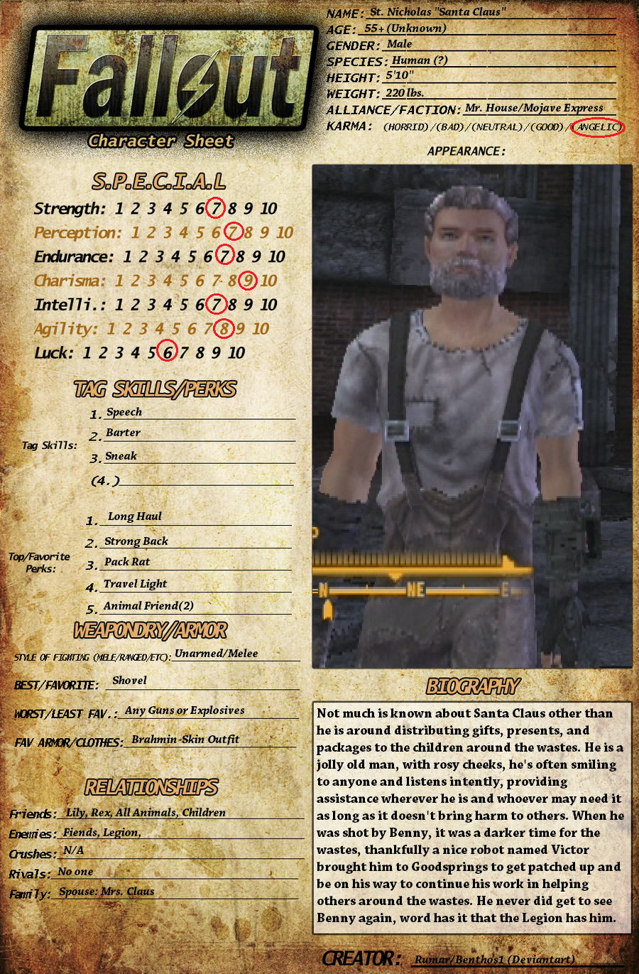 My First Fallout New Vegas Character Sheet by Benthos1 on