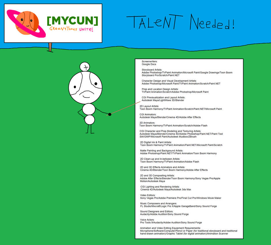 MYCUN: Greenytoons Unite! - TALENT NEEDED! by RealMovieMaker9000 on