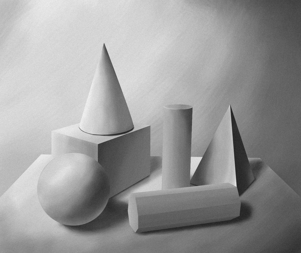 Form And Value In Art : Geometry forms light and shadow study by raphaayala on