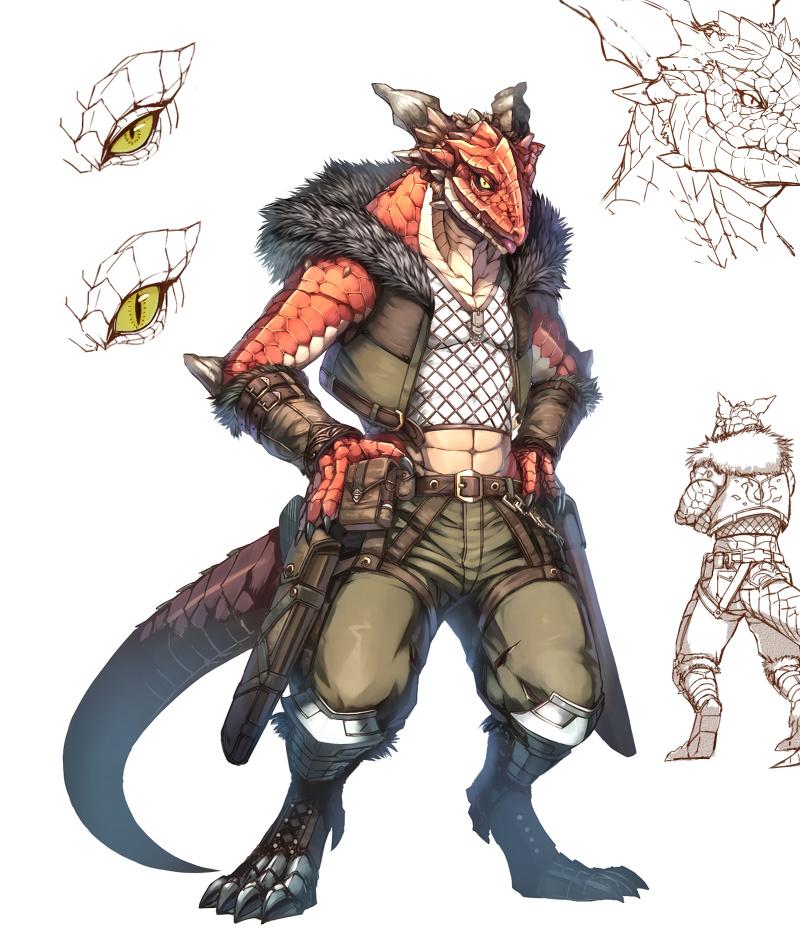 Characters: Beast-Kin/Kemonomimi (animal-trait people) - Page 2 Lizard_man_by_inubiko_d9vpl3p_by_keskewolf-dbskeei