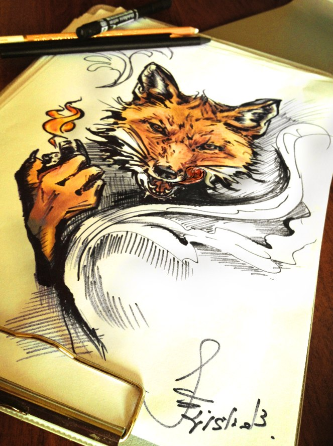 Fox tattoo sketch by kristineulanowsky on deviantart for Tattoo shop etiquette