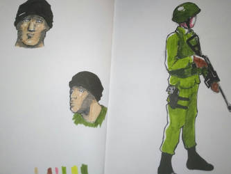 Sketching soldier by vinzouille