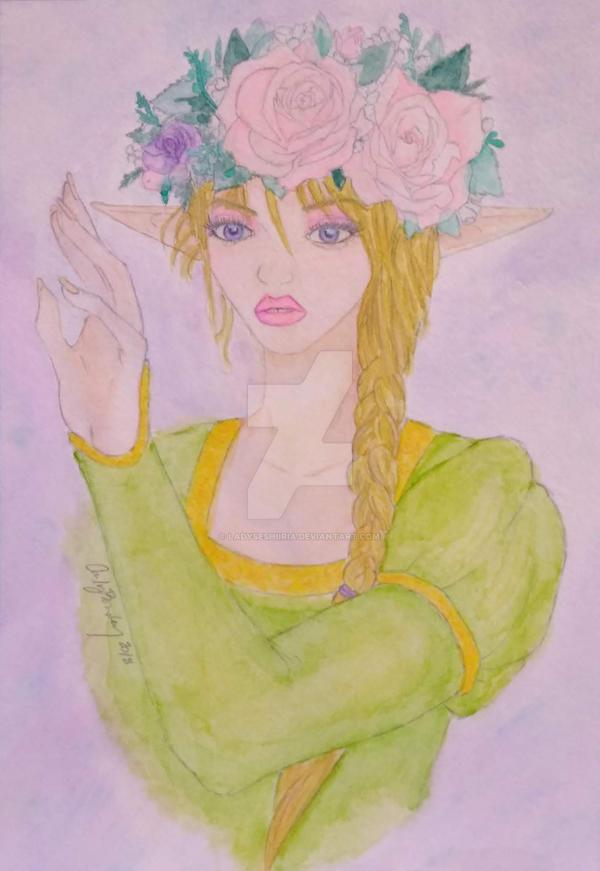 Watercolor Fantasy Elf by LadySeshiiria
