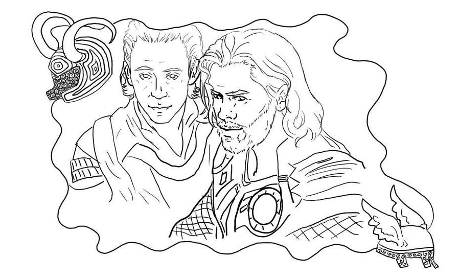 Thor and Loki Coloring Page by StacheRabbit on DeviantArt