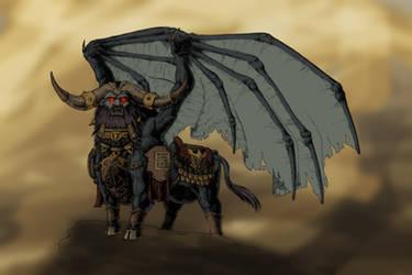 Chaos Dwarf Lammasu (base color scheme) by KnightInFlames