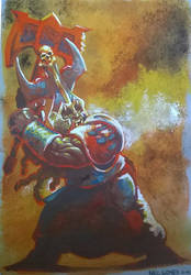 Chaos dwarf gouache study by KnightInFlames