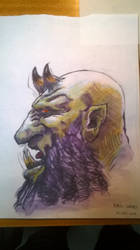 Chaos Dwarf head study by KnightInFlames
