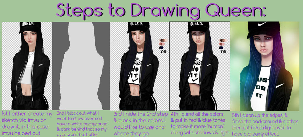 Steps to Drawing Queen by FindingLotus