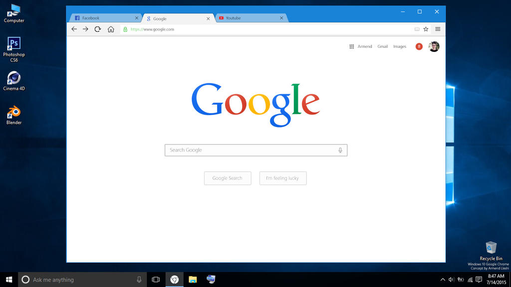 Google Chrome With Windows 10 UI Design Concept by ...