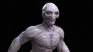 alien front view close up by strajky