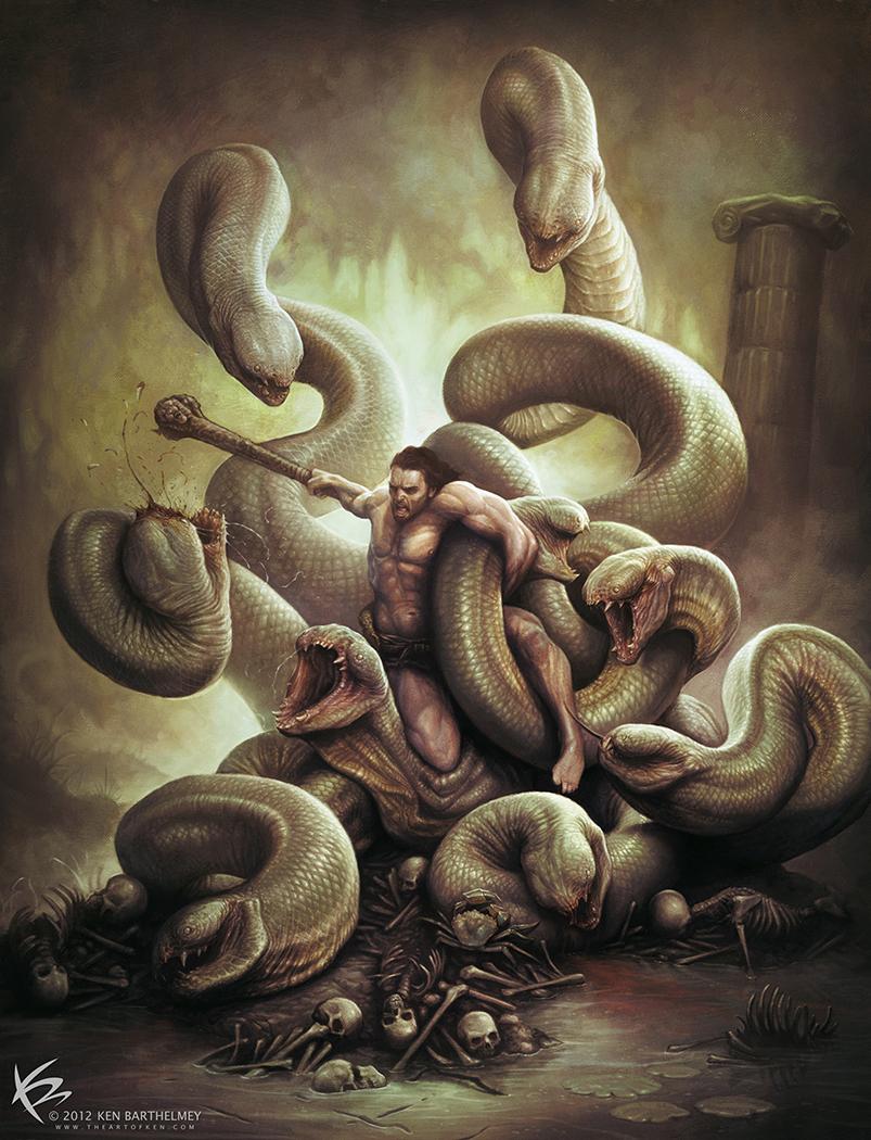Hercules vs Hydra by KENBARTHELMEY