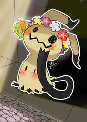 Mimikyu and Comfey, Fairy friends by HarlequinWaffles