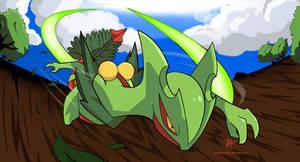 Mega-Sceptile used Leafblade!