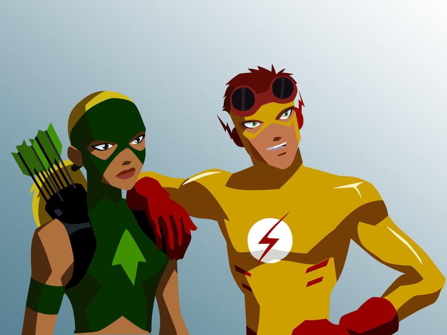Kid Flash and Artemis Vector by growabrain on DeviantArt