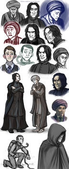 Quirrell and Snape (and Voldy) sketch dump