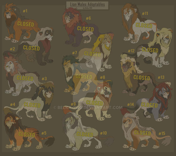 Lion Males Adoptables - CLOSED by Belka-1100