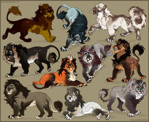 Lion and Felines sketches #2 by Belka-1100