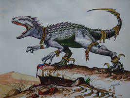 War Dino (The Indominous rex done in watercolor)