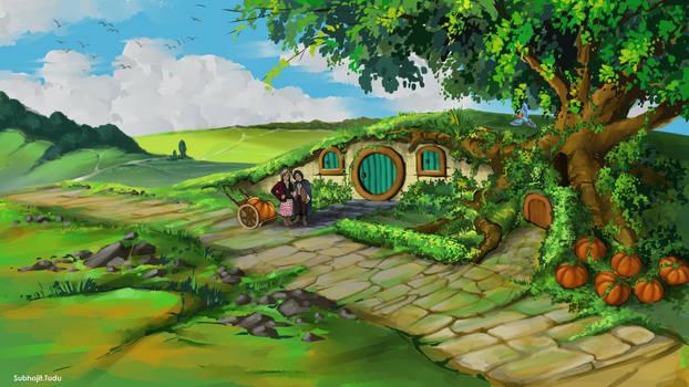 A Hobbit Couple growing pumpkins