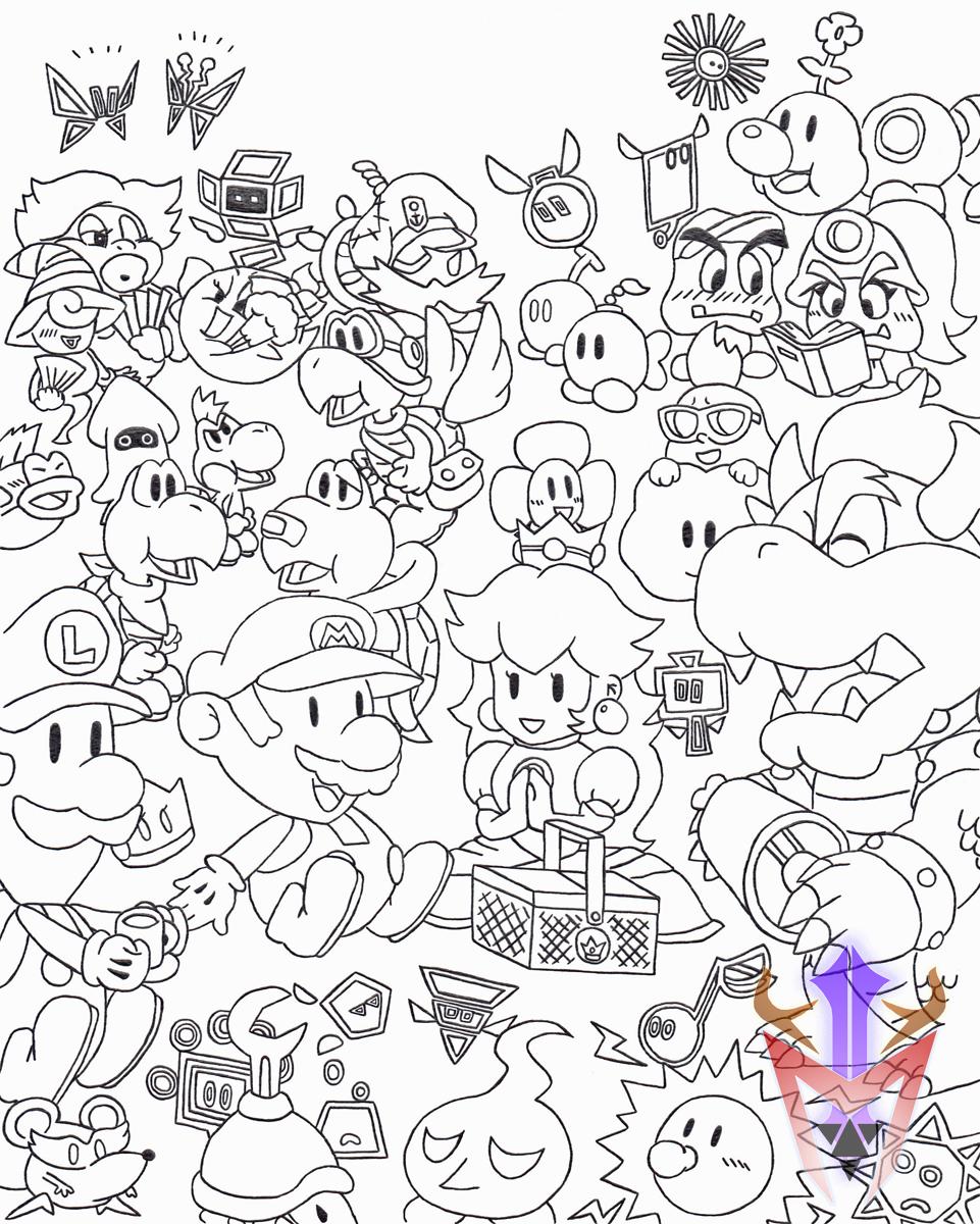 cubicle drawing 09 paper mario picnic by dragoonmyuutsu on