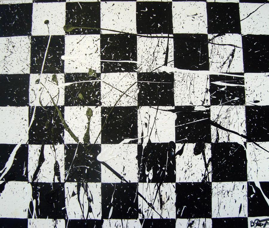 Black and White Splatter by SleepyBun