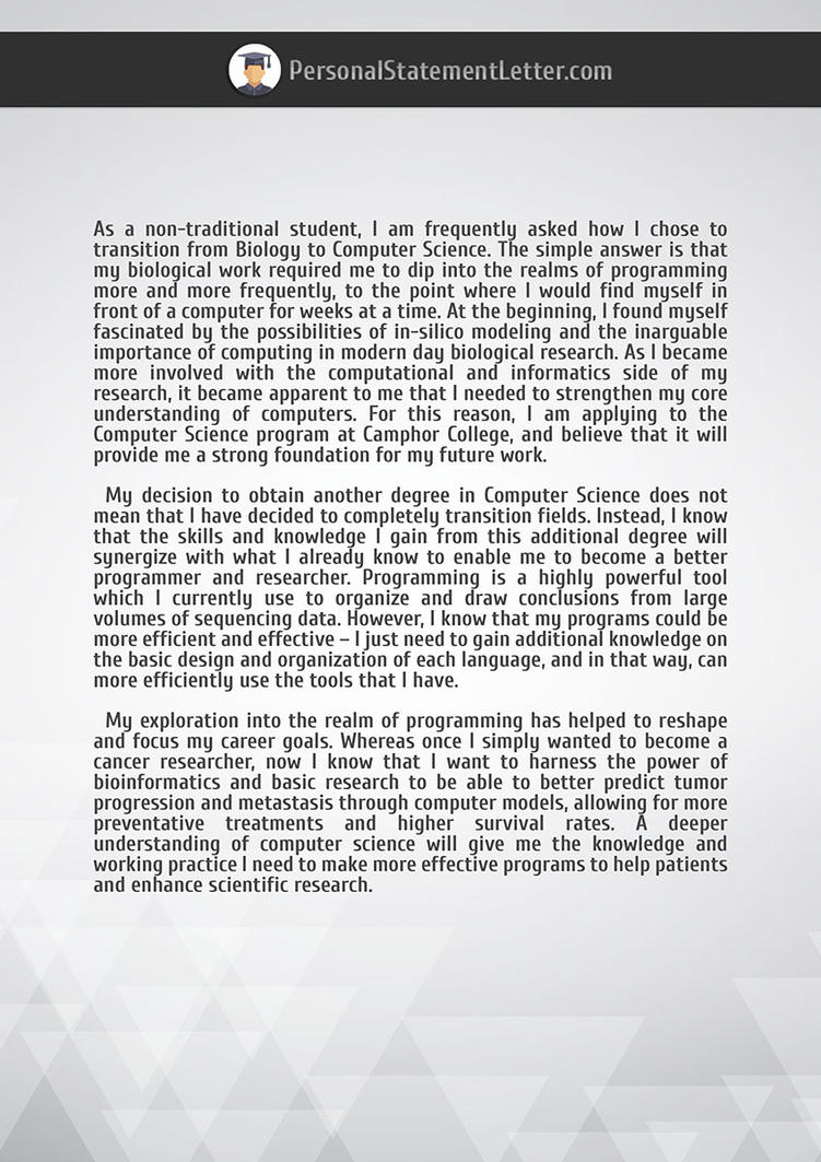 Right Example Of Personal Statement Letter By Pslettersamplesuk On