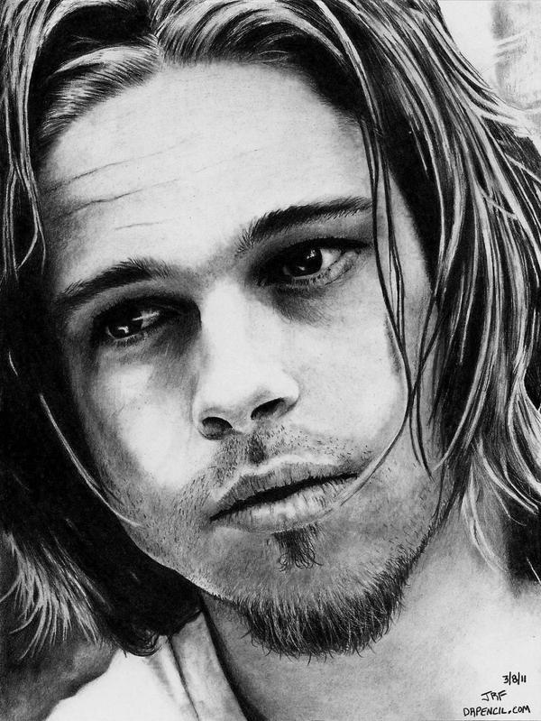 Brad Pitt - Long Hair by Doctor-Pencil