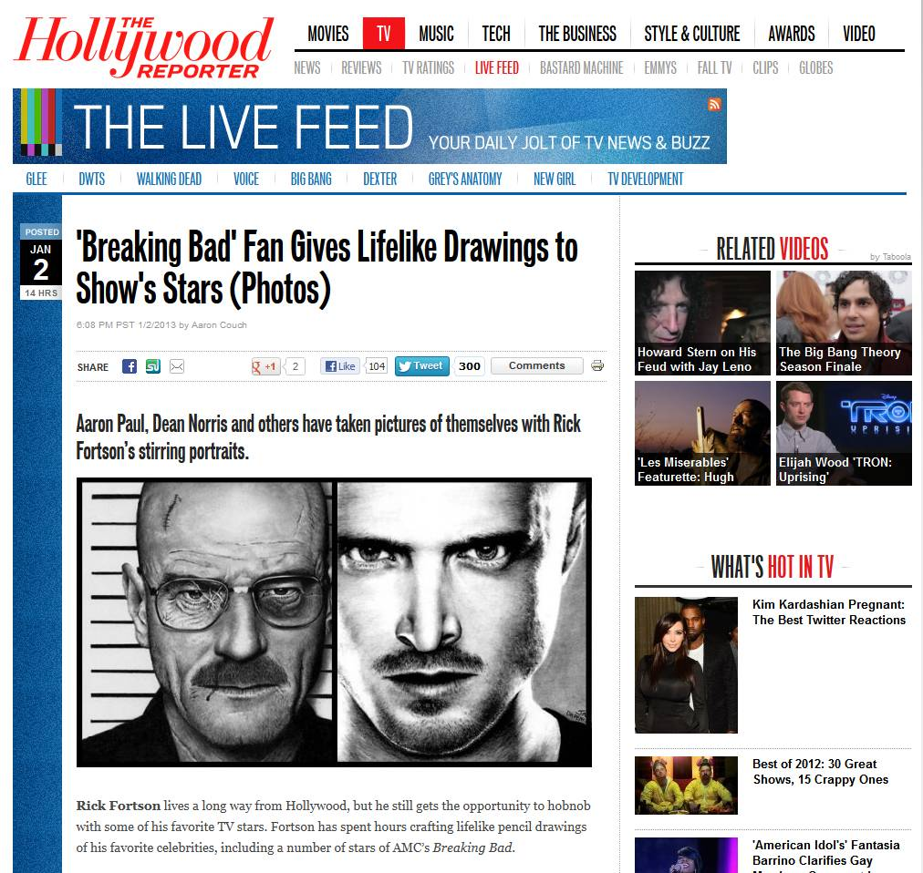 Hollywood Reporter on My Drawings and Breaking Bad by Rick-Kills-Pencils