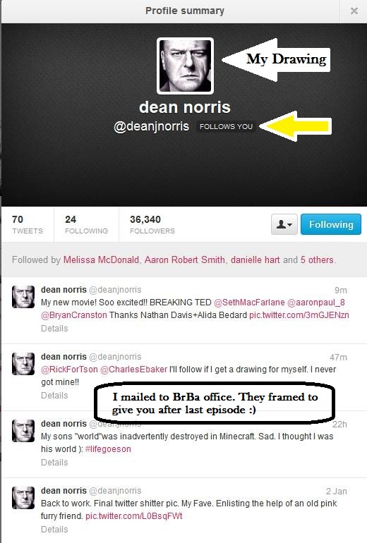 Dean Norris uses my drawing on Twitter by Doctor-Pencil