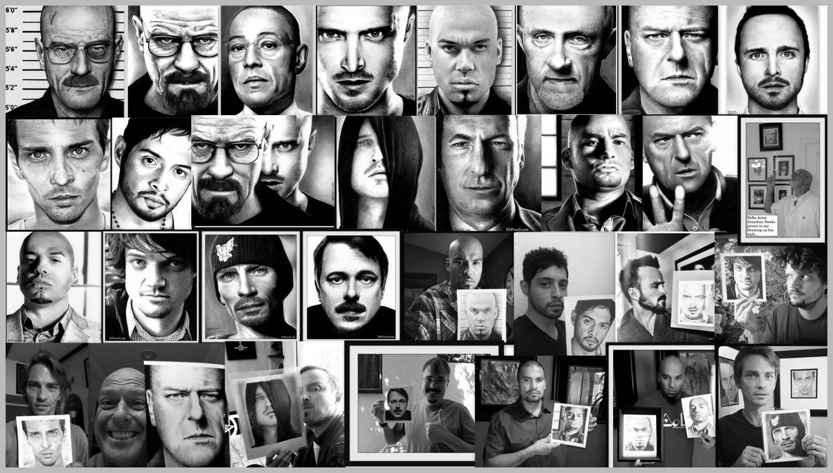 My 19 Breaking Bad Drawings with Cast photos by Rick-Kills-Pencils