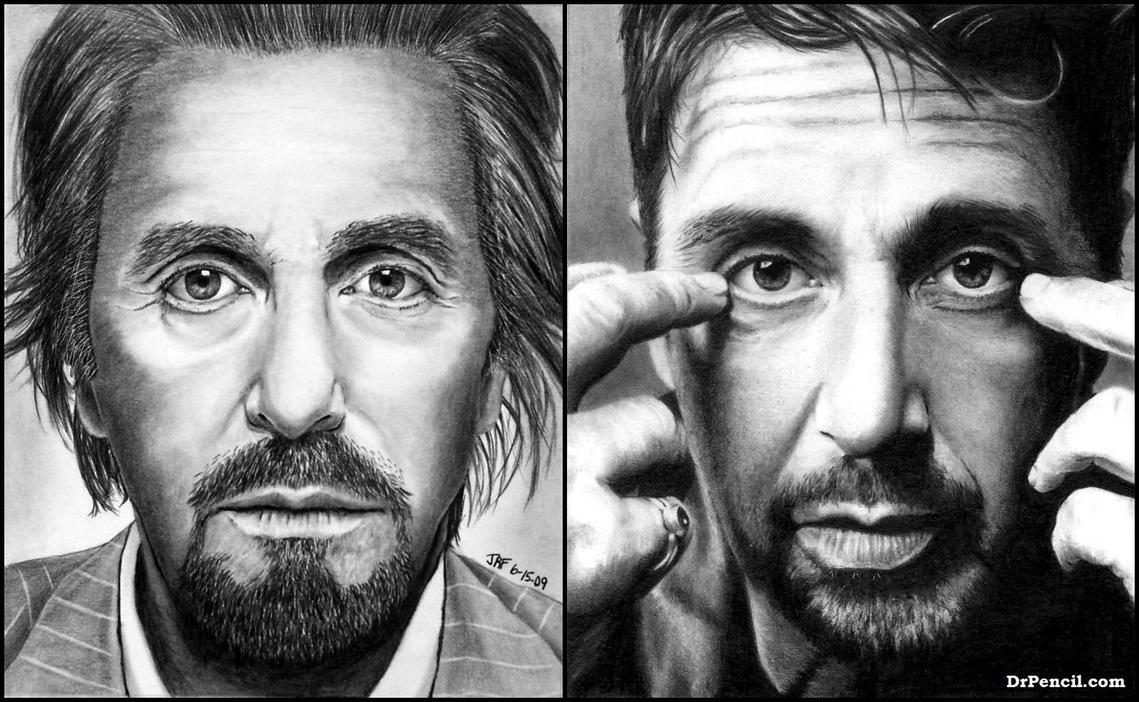 Al Pacino - drawn 5 years apart by Rick-Kills-Pencils