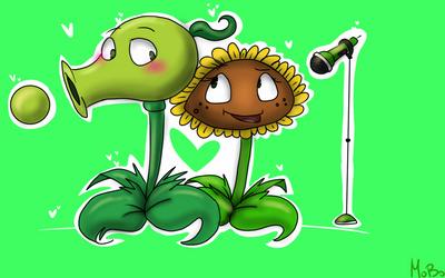 PvZ:Peashooter and Sunflower by Crazy-Matroskin55