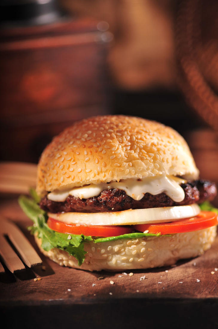 Melted Goat Cheese Burger by Bigpanther