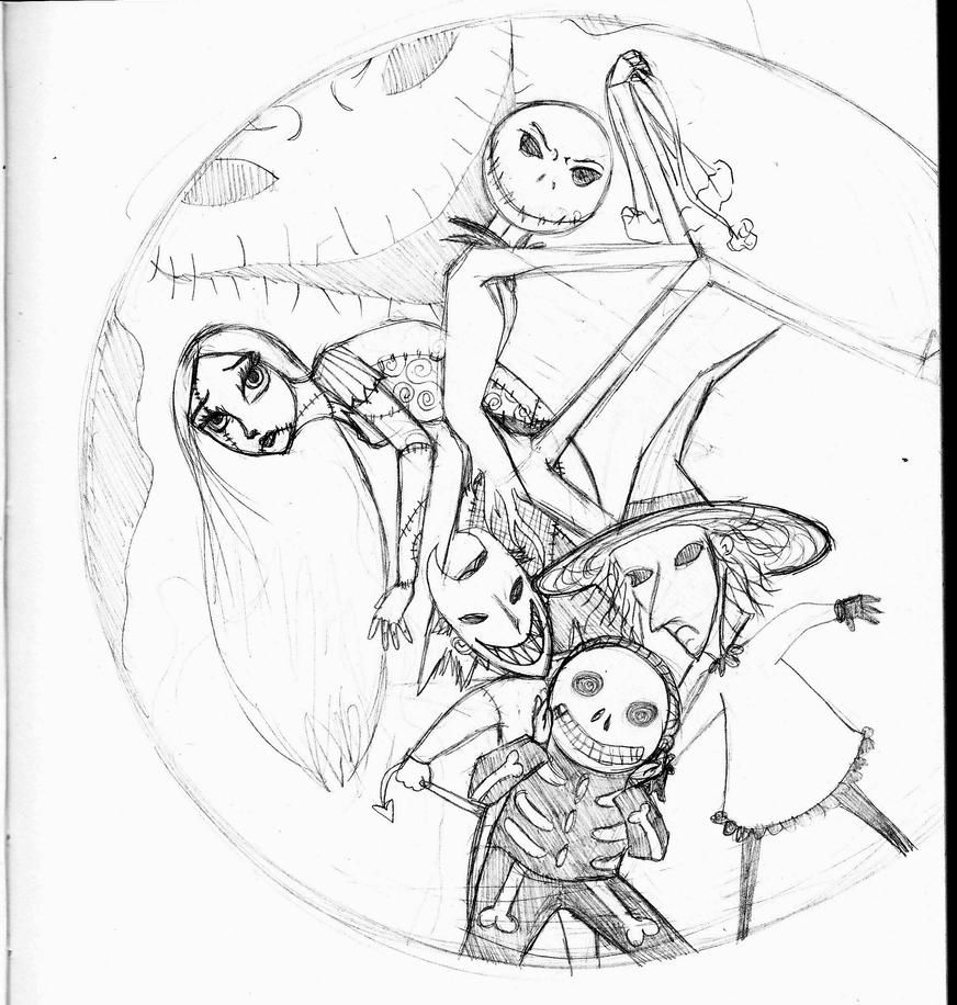 nightmare before christmas printable coloring pages - nightmare before christmas by xclassicrockx on deviantart