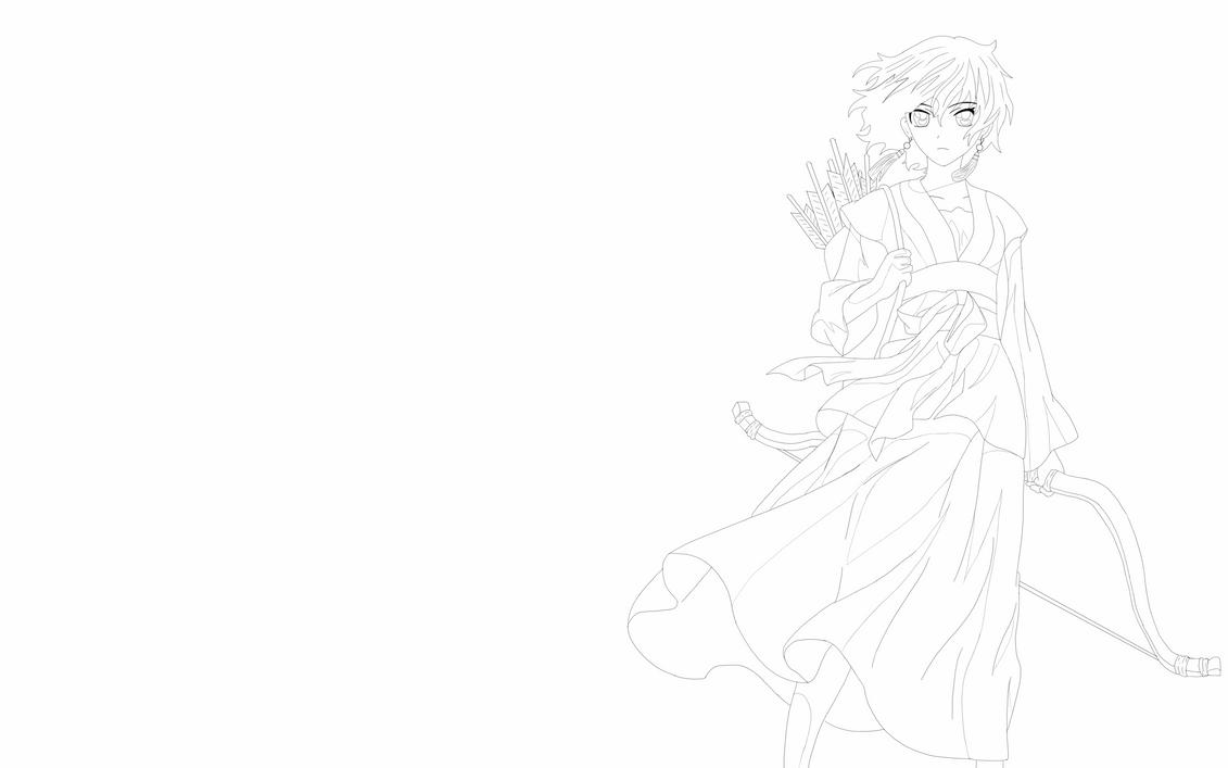 Line Drawing No Shading : Yona akatsuki no line art rough shading by