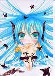 Hatsune Miku - Butterflies by Hallowchii